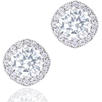 Orrous & Co. 18k White Gold Plated Cubic Zirconia Halo Stud Earrings (1.90 Carats)