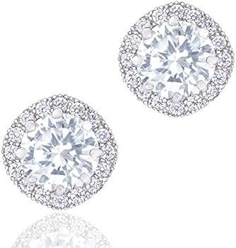 Orrous & Co. 18k White Gold Plated Cubic Zirconia Stud Earrings