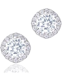 Orrous Co Premium 18k Cubic Zirconia Earrings - Beautiful White Gold Plated Studs - 1.90 Carats Round Cut Cubic Zirconia - Cushion Shaped Gemstone Halo - Beautiful and Elegant Present Idea