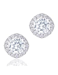 18k Gold Plated Cubic Zirconia Cushion Shape Halo Stud Earrings (1.90 carats)