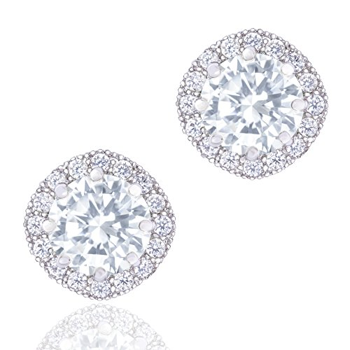 ORROUS & CO Women's 18k Cubic Zirconia Earrings - Beautiful White Gold Plated Studs - 1.90 Carats Round Cut Cubic Zirconia - Cushion Shaped Gemstone Halo - Beautiful & Elegant Gift Idea by ORROUS & CO