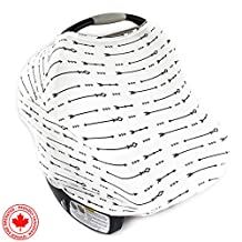 """Ultrasoft Multi-Use Stretchy Baby Car Seat Canopy   Nursing Cover   High Chair Cover   Shopping Cart Cover   Infinity Scarf with Bonus Matching Pouch """"The Archer"""" by Chubbi Baby"""