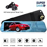 1080FHD Car Video Recorder Rear Mirror Dash Cam Front and Back Camera, G-Sensor, Motion Detection, Parking Mode, Loop Recording, 140 Degrees