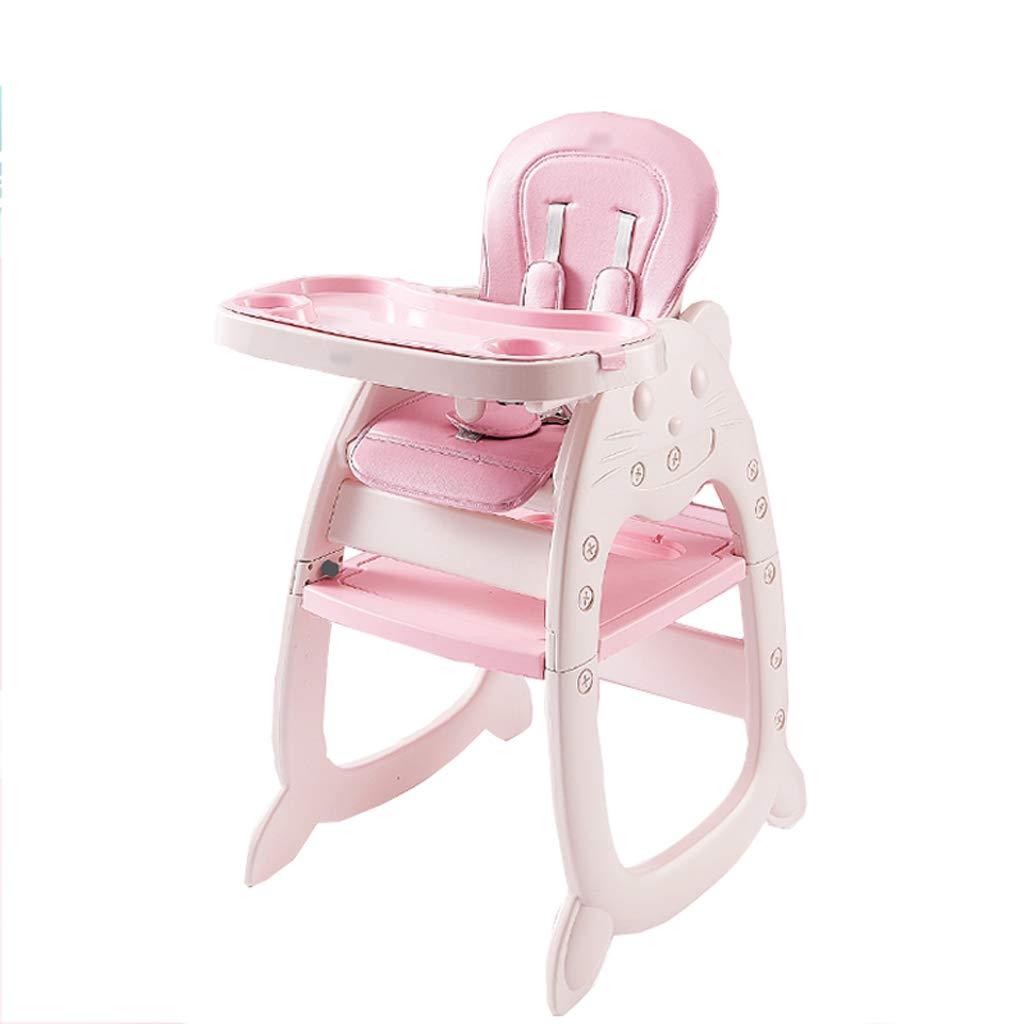 silla comedor Silla de comedor para niños Mesa de comedor multifunción Mesa de aprendizaje Silla mecedora (Color : Pink)