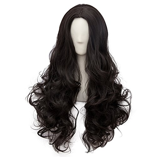 Aoi Kunieda Cosplay Costume (Netgo Black Cosplay Wigs for Women Long Curly Hair Wigs Lolita Style Heat Resistant Synthetic Full Wig)