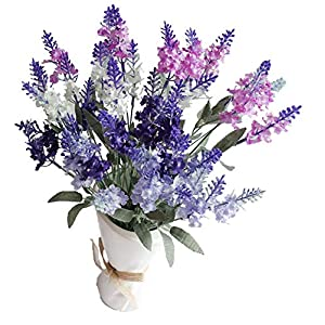 SKFLO Artificial Flower Lavender Mixed Color 4 Bunch Arrangement for Wedding Bouquet with White Pink Purple Silk Fake Faux Flowers with Greenery Leaves Stems Dining Table Centerpieces Home Decor 48