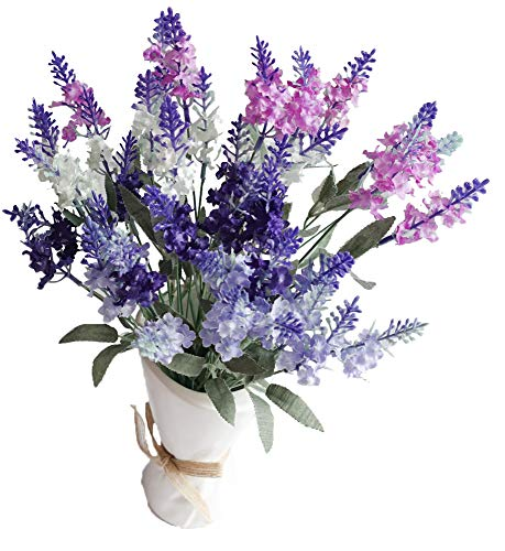 (Artificial Flower Mixed Color Lavender 4 Bundle Arrangement for Wedding Bouquet with White Pink Purple Silk Fake Faux Flowers with Greenery Leaves Stems Table Centerpiece Ideas DIY Home Decor)