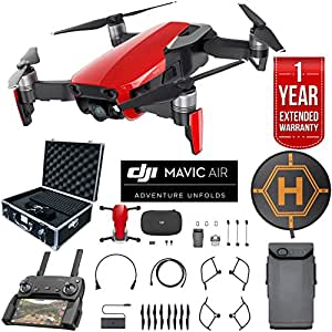DJI Mavic Air Drone Combo 4K Wi-Fi Quadcopter with Remote Controller Deluxe Bundle with Hard Case , Dual Battery , Landing Pad and 1 Year Warranty Extension (Flame Red)