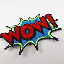 WOW! superhero comics retro fun embroidered applique iron on patch for bags, hats or any garment.