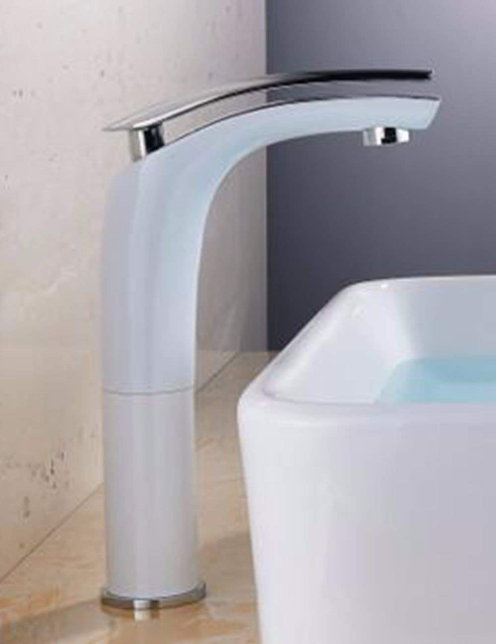 JingJingnet 洗面台の蛇口タップ浴室のシンクの蛇口あなたの顔を洗う洗面台の浴室用キャビネットの真鍮の蛇口を洗う、白い表面の洗面台の蛇口、さらにハイペイントの洗面台の蛇口 (Color : F) B07S3SSMWC F