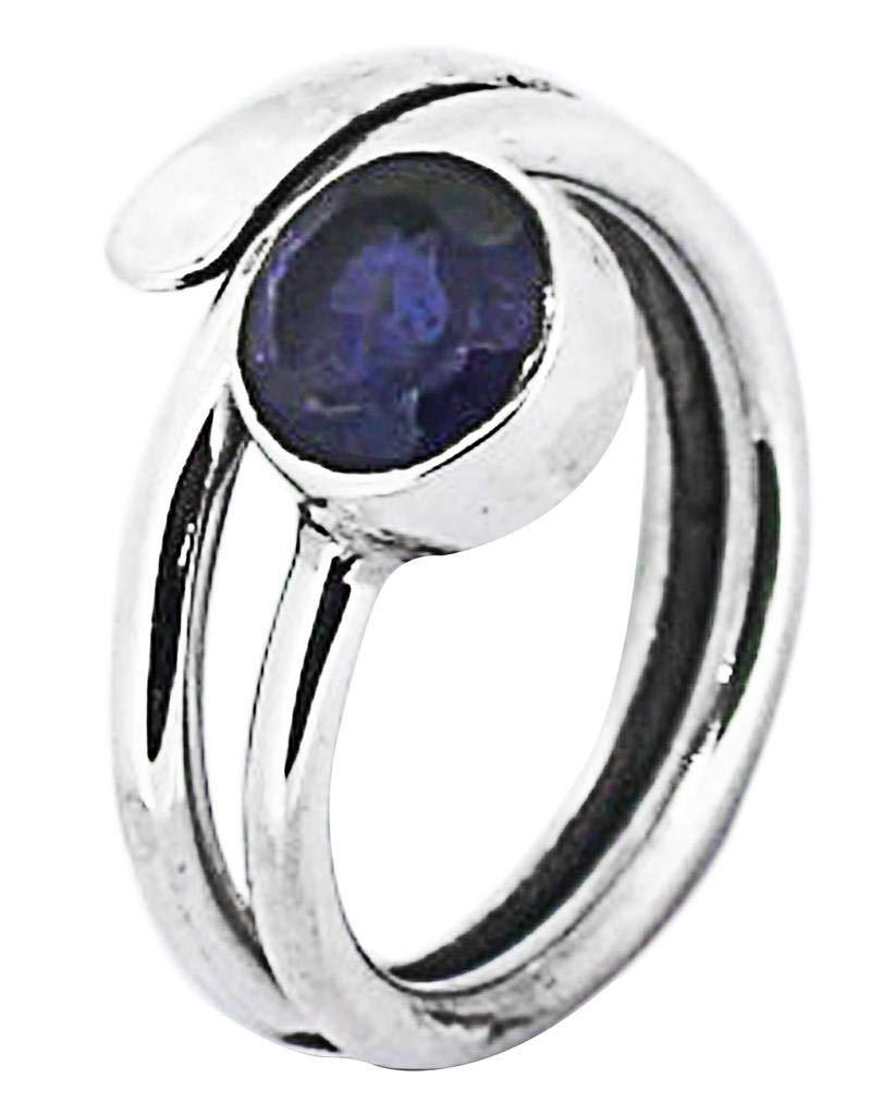 M/s Gajraj Iolite 925 Sterling Silver Open Style Ring, US-8.5