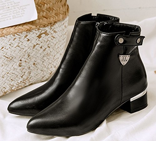 Women's Toe Daily Zip Black Booties up Pointy Ankle Aisun qdxzRq