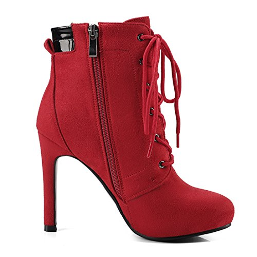 Lace Agodor Winter Shoes Heels Womens Classic Leather Red Zip Nubuck up Ankle With Stiletto High Boots IOrxO6