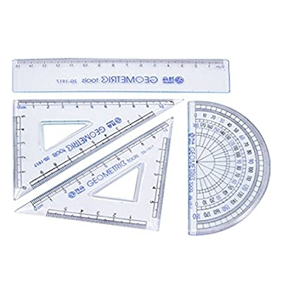 Ruler Sets - ZHIGAO 4-In-1 ZG- 1917 Straight Triangle Protractor Ruler Sets Clear Blue by ZHIGAO