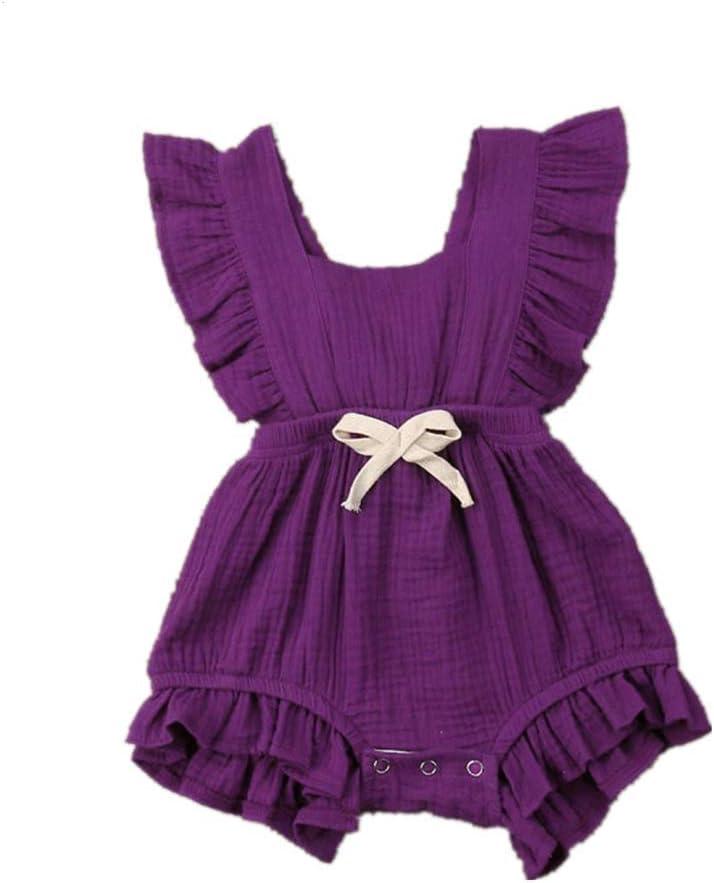 Patifia Neugeborenen Baby M/ädchen Strampler S/ü/ßigkeitfarbe Kleinkind /Ärmellos Einfarbig Geraffte Bodysuit S/ü/ß R/ückkreuzung Spielanzug Kleidung Outfits f/ür 3-24 Monate