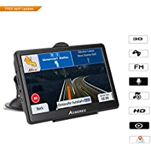 [Patrocinado] 7 inch HD GPS Car Navigation System, 128MB System 8GB Memory Capacitive Touch Screen, Real Man and Woman Broadcast Top Loading North America Map, Map Lifetime Free Update (Black)