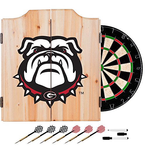 University of Georgia Deluxe Solid Wood Cabinet Complete Dart Set - Officially Licensed! by TMG
