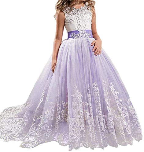 (Girls Flower Princess Pageant Dress Kids Sleeveless Long Maxi Party Gowns AT03 (Purple,)