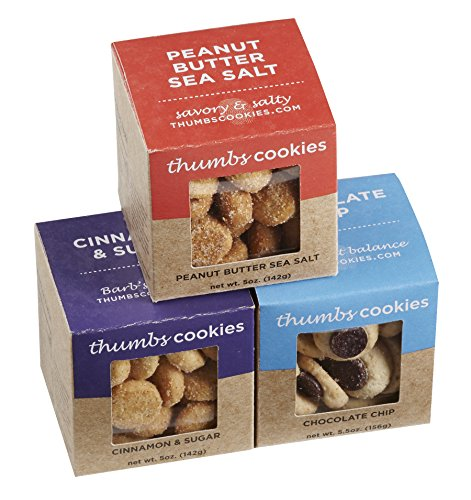 Thumbs Cookies Variety Pack of Fresh Baked Cookies in 3 Boxes - Chocolate Chip Cookies, Cinnamon Sugar Cookies, and Peanut Butter Sea Salt Cookies - 1 lb. Cookie Gift Box ()