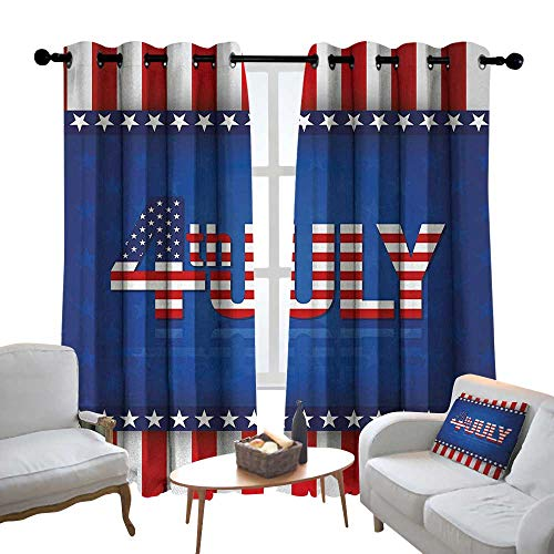 (Customized Curtains 4th of July,Independence Themed Holiday Design with United States of America Flag Pattern,Multicolor,Blackout Thermal Insulated,Grommet Curtain Panel Set of 2 120
