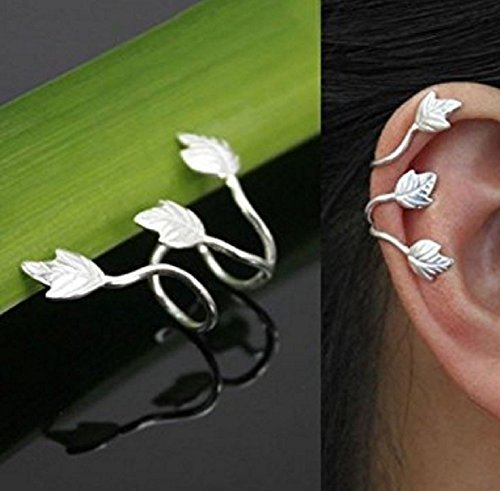 Used, Qiaoying Women Silver Leaf Ear Cuff Earrings Clip On for sale  Delivered anywhere in USA