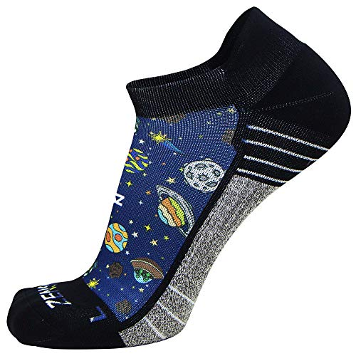 Zensah Limited Edition No-Show Running Socks - Anti-Blister Comfortable Moisture Wicking Sport Socks for Men and Women (Small, Solar System)