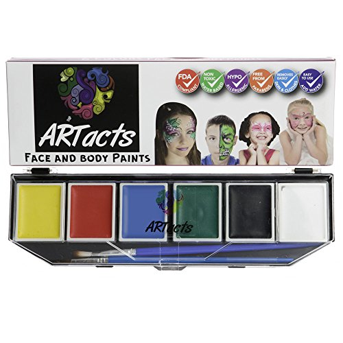 Face Paint Kit For Kids With FREE Stencils . 6 Bold Bright Color Palette Set for Kids Water Based Non Toxic,FBA Approved. Great Gift For All ()