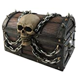 ": 5"" Wide Pirate's Booty Treasure Chest Trinket Storage Jewelry Box With Skull And Chains by DWK 