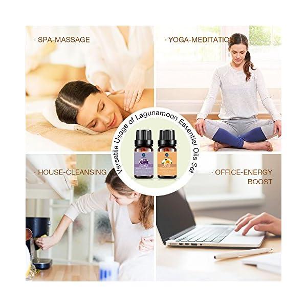 LAGUNAMOON ESSENTIAL OILS TOP 6 SET DE REGALO ACEITES ESENCIALES PUROS PARA DIFUSOR, humidificador, masaje, aromaterapia, cuidado de la piel y el cabello