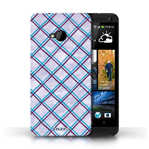 Etui / Coque pour HTC One/1 M7 / Bleu/Violet conception / Collection de Motif Entrecroisé