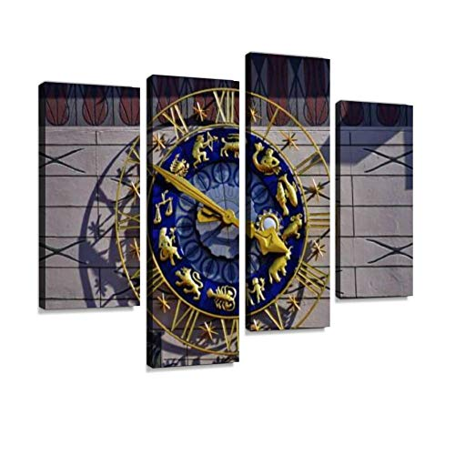 Dial Canvas - Munich. Old Town Hall Tower Clock with Zodiac Signs on The dial. Canvas Wall Art Hanging Paintings Modern Artwork Abstract Picture Prints Home Decoration Gift Unique Designed Framed 4 Panel
