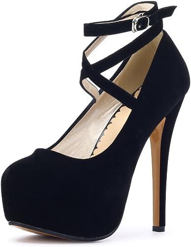 Ochenta, scarpe da donna, con cinturino alla caviglia e plateau, con tacco alto, per feste, eleganti, Nero ((Beige Sole) Black), 44 EU