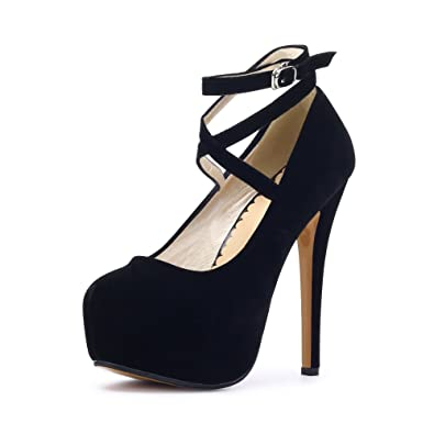 b519bc2e7c3 Women s Ankle Strap Platform Pump Party Dress High Heel  10 Black Tag 35 -  US