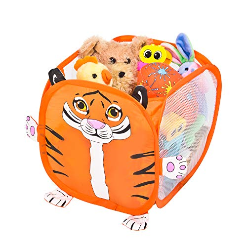 Smart Design Kids Pop Up Organizer Cube w/Animal Print - VentilAir Mesh Netting - for Toddlers, Baby Clothes, Plushies, Toys - Home Organization (10.5 x 11 Inch) [Orange Tiger]