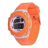 Demiawaking LED Digital Electronic Multifunction Child Boy Girl Student Rubber Band Sport Watches (Orange)
