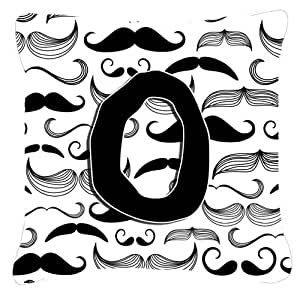 "Caroline's Treasures CJ2009-OPW1818 Letter O Moustache Initial Canvas Decorative Pillow, 18"" x 18"", Multicolor"