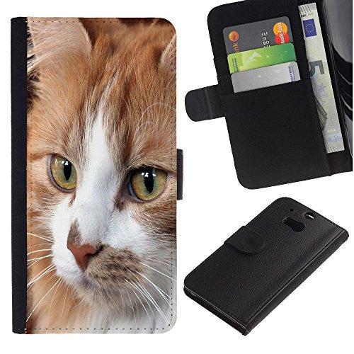 EuroCase - HTC One M8 - Cymric American shorthair house cat - Cuero PU Delgado caso cubierta Shell Armor Funda Case Cover