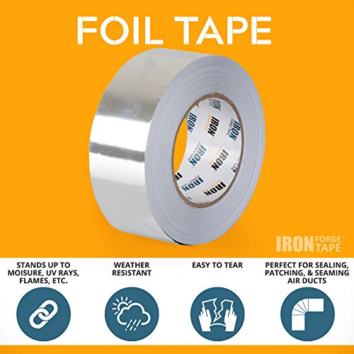 Aluminum Foil Tape Roll - 2 inch x 55 Yards Heavy Duty Tin Foil Duct Tape for HVAC by Iron Forge Tools (Image #1)