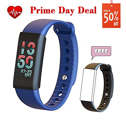 Fitness Tracker, TEYO Fitness Wristband with Heart Rate Monitor Watch Smart Wristband Steps Activity Tracker for Android and IOS Phone (Blue)