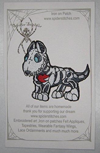 Skeleton Bone Dog Bull Terrier Iron on Patch