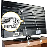Metal Anti-Tip TV and Furniture Safety Straps Pack of 2- Childproof Wall Straps with Adjustable Length for Baby Proofing,with Discreet Design, Sturdy Hardware Included