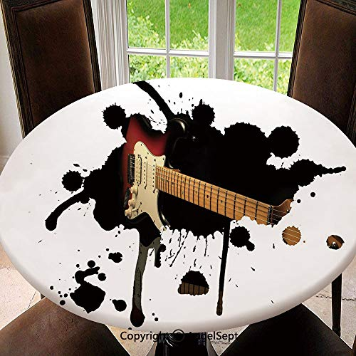 "SfeatruAngel Stain Resistant Elastic Edged Table Cloth Electric Guitar Fretboard on Black Grungy Color Splashes Art Perfect for Home or Restaurants Table Protection, Round 55"",Black Light Brown Cream"
