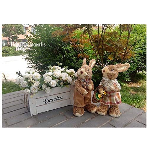 (Mankvis Easter Bunny. Easter Decoration Forest System Straw Bunny Decoration Home Decor Children's Toys Couples 2)