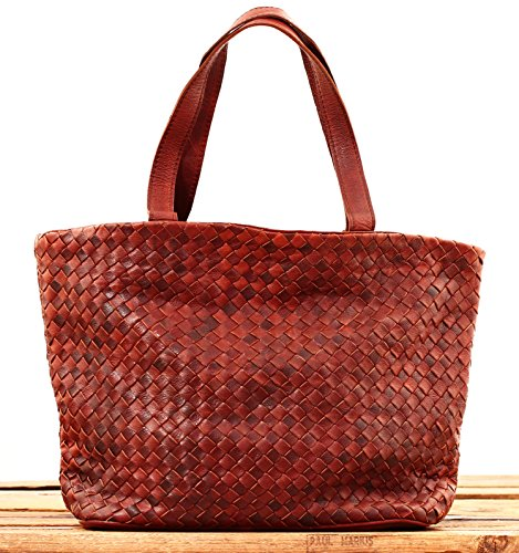 Bag Marius Brown Tressage Braided Oil Vintage Leather Shopping Le Paul Handbag qfvYw6