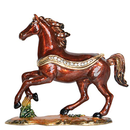 Jiaheyou Running Horse Jeweled Trinket Box Figurine Metal Jewelry Boxes & Organizers Horse Collectible Gifts Decor (Horse Jeweled Box)