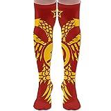 Communist Byzantine Flag Polyester Cotton Over Knee Leg High Socks Fun Unisex Thigh Stockings Cosplay Boot Long Tube Socks For Sports Gym Yoga Hiking Cycling Running Soccer