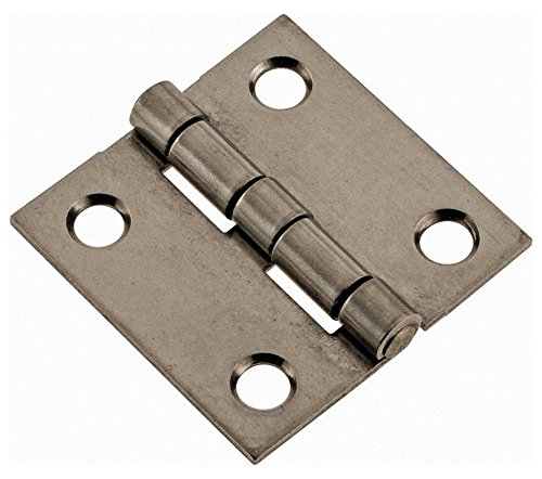 1-1/2'' Long x 1-1/2'' Wide x 0.05'' Thick, 302/304 Stainless Steel Commercial Hinge, 4 Holes, 0.12'' Pin Diam by Made in USA