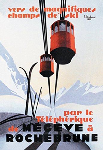 Sled Slalom (ArtParisienne to Magnificent Skiing, Par le Téléphérique de Megève à Roch Rene Michaud 24x36-inch Paper Giclée Print)