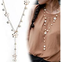 Sexy Lady Nice Pearl Flower Sweater Chain Long Pendant Necklace Fashion Jewelry