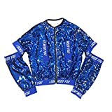 Kids Girls Dancing Jazz Hip Hop Clothes Jacket Glitter Cool Coat (7-8Years, Blue)